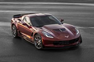 Фотографии Шевроле Бордовая Металлик 2016 Corvette Z06 автомобиль