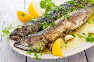 Обои Морепродукты Рыба Лимоны Еда фото