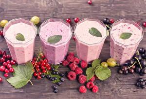 Фотография Напитки Коктейль Малина Смородина Стакана Продукты питания