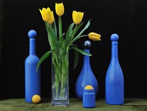 Обои Тюльпаны Бутылка Вазе Цветы