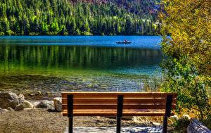 Фото США Озеро Пейзаж Калифорнии Скамья June Lake Природа