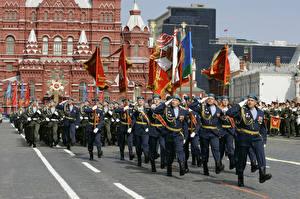 Обои Россия Москва Праздники Солдаты День Победы Военный парад Флаг 2015