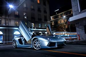 Фотографии Lamborghini Асфальта Роскошные Голубая Aventador, LP700-4 автомобиль