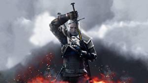 Обои The Witcher The Witcher 3: Wild Hunt Воители Мужчины Геральт из Ривии Доспехи Мечи Игры фото