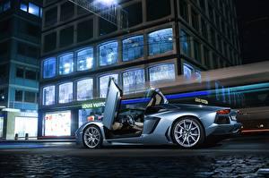Фотографии Lamborghini Асфальта Сбоку Голубые Роскошные Aventador, LP700-4 автомобиль