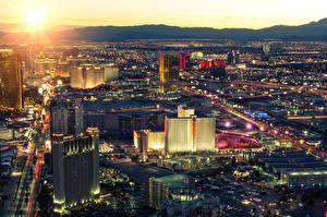 Картинки Штаты Здания Рассветы и закаты Лас-Вегас Мегаполис Сверху Города