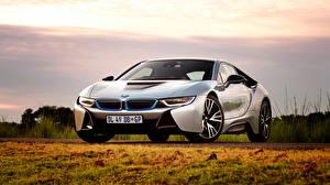 Картинки BMW Небо Трава Спереди i8 машина