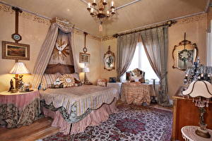 Картинки Интерьер Ретро Дизайн Спальня Кровать Люстра Ковер Лампа