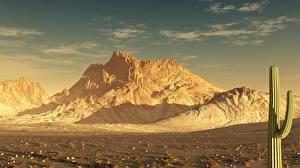 Фото Горы Кактусы Пустыни 3D_Графика