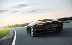 Фотография Ламборгини Дороги Вид сзади Aventador, lp700-4 Автомобили