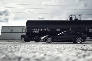 Обои Chevrolet Черный Сбоку C7, Corvette, cistern Автомобили фото