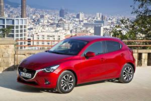 Фотографии Мазда Бордовые Металлик 2014 Mazda 2 Автомобили