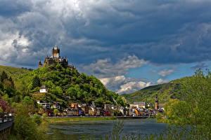 Фото Германия Реки Замки Небо Кохем Облака
