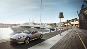 Картинки Aston Martin Яхта Дороги Кабриолет db9 Машины Города