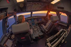 Фото Рассветы и закаты Самолеты Пассажирские Самолеты Кресло Авиация
