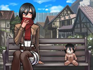 Фото Вторжение гигантов Игрушки Здания Кукла Скамейка Сидя Mikasa Ackerman Аниме Девушки