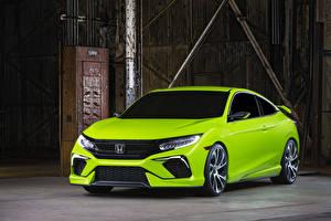 Обои Honda Желто зеленый Металлик 2015 Civic авто