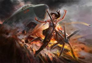 Обои Самолеты Катастрофы Tomb Raider Tomb Raider 2013 Лара Крофт Игры Девушки