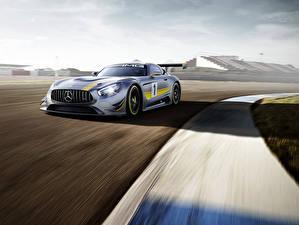 Картинки Mercedes-Benz Тюнинг Серебристый 2015 GT3 AMG Авто
