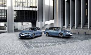 Обои Toyota Голубые Двое Металлик 2015 Auris SW Автомобили