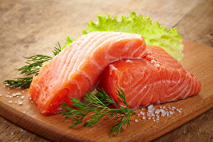 Обои Морепродукты Рыба Укроп Еда фото