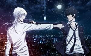 Фотография Пистолеты Парни Двое Psycho-pass, Shinya Kougami, Shougo Makishima Аниме