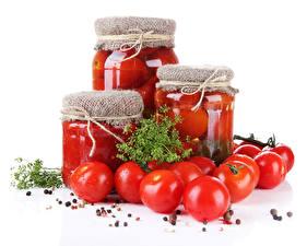 Обои Овощи Томаты Укроп Специи Банке Красный Пища