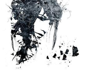 Фотография Бабочки Рисованные Лицо молодая женщина