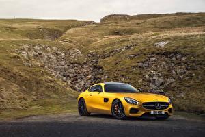 Фото Мерседес бенц Тюнинг Желтый 2015 AMG GT S Автомобили