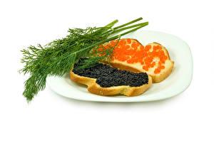 Обои Бутерброды Морепродукты Икра Хлеб Укроп