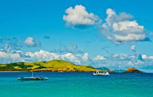 Картинка Небо Море Лодки Облака Природа