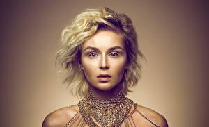 Картинка Полина Гагарина Сергеевна Блондинка Взгляд Лицо Знаменитости Девушки