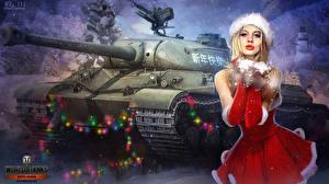 Картинки World of Tanks Танки Новый год Рисованные Электрическая гирлянда Платье Nikita Bolyakov wz-111 Игры Девушки