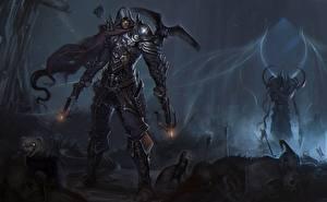 Обои Diablo Лучники Демоны Мужчины Вороны Доспехи demon hunter Игры Фэнтези фото