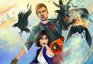 Обои BioShock BioShock Infinite Вороны infinite, Elizabeth Booker DeWitt Игры Девушки фото