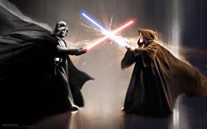 Обои Мужчина Звездные войны Дарт Вейдер Световой меч Мечи Плаще obi one Фильмы Фэнтези