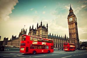 Картинки Автобус Англия Биг-Бен Лондон Westminster Abbey