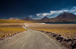 Фотографии Дороги Пустыня Горы Небо Природа