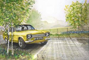 Фотография Ford Рисованные Березы Желтый Escort Автомобили