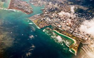 Фото Море Побережье Океан Гавайи Облачно Сверху Honolulu город