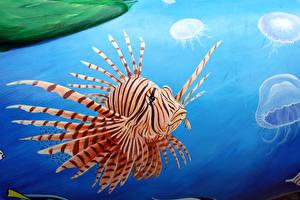 Картинка Рыбы Рисованные Подводный мир Крылатка