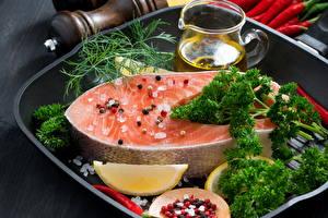 Обои Морепродукты Рыба Укроп Специи Лимоны Еда фото