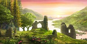 Картинки Руины Горы Рассветы и закаты Речка Рисованные Трава Природа