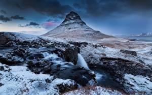 Фото Исландия Гора Киркьюфетль гора Снегу Природа