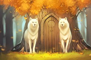 Фотография Волк Рисованные Осенние 2 Дверь животное
