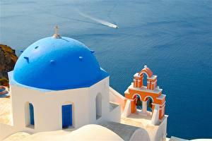 Картинки Море Здания Греция Храмы Тира Церковь Купол Oia Города