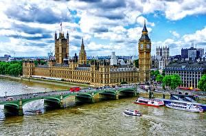 Фотография Небо Речка Дома Биг-Бен Лондоне HDR Облака город