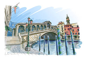 Картинка Мосты Здания Рисованные Реки Италия Венеция Уличные фонари Города