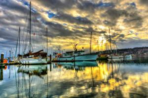 Фотографии Небо Воде Пристань Штаты Рассвет и закат Яхта Речные суда Облачно Вашингтон Poulsbo Marina город