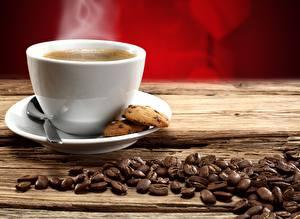 Картинки Кофе Напитки Печенье Крупным планом Чашка Зерна Пар Еда